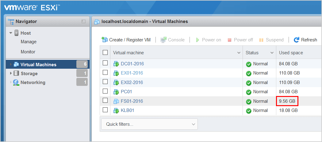 Convert thick provisioned disk to thin on VMware ESXi verify VM used space