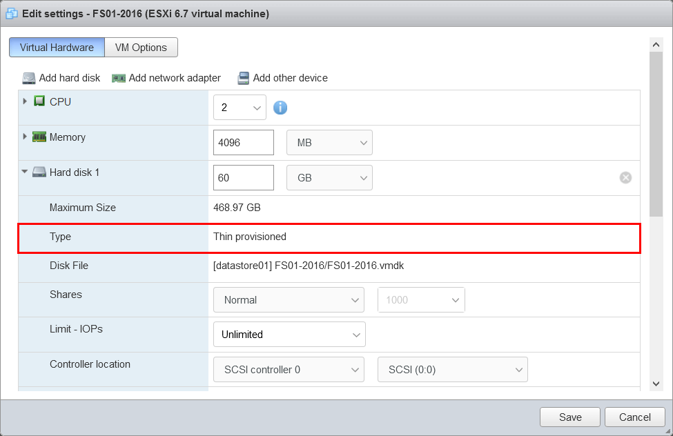 Convert thick provisioned disk to thin on VMware ESXi disk type thin provisioned