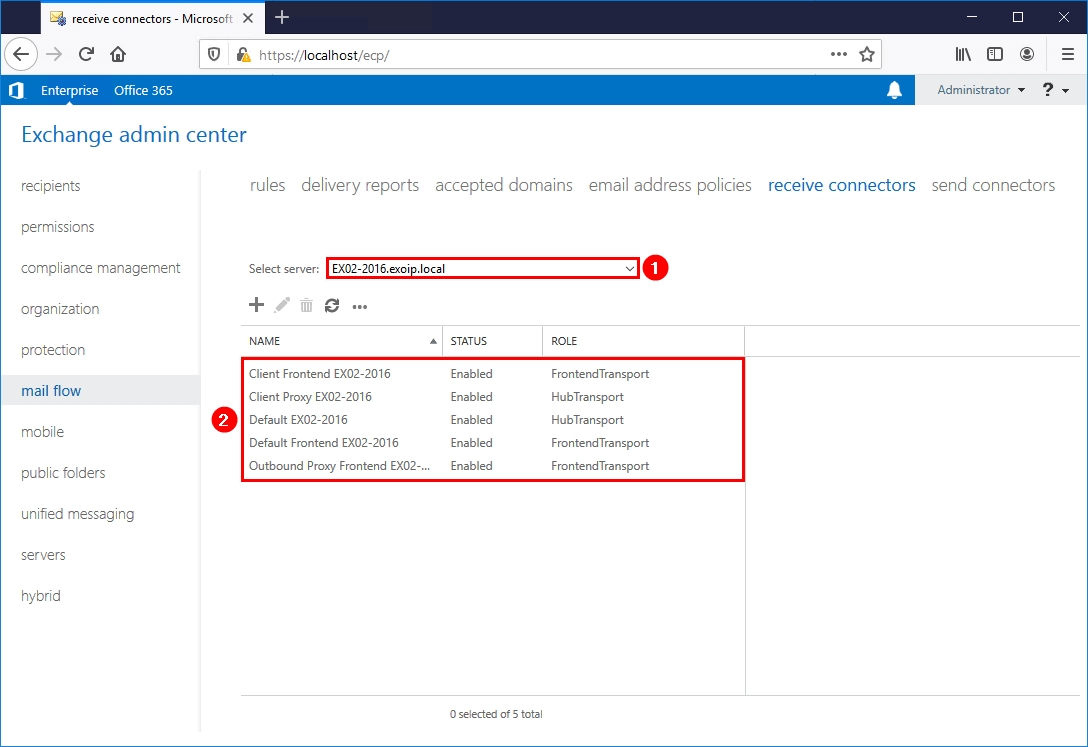 Copy receive connector to another Exchange Server before