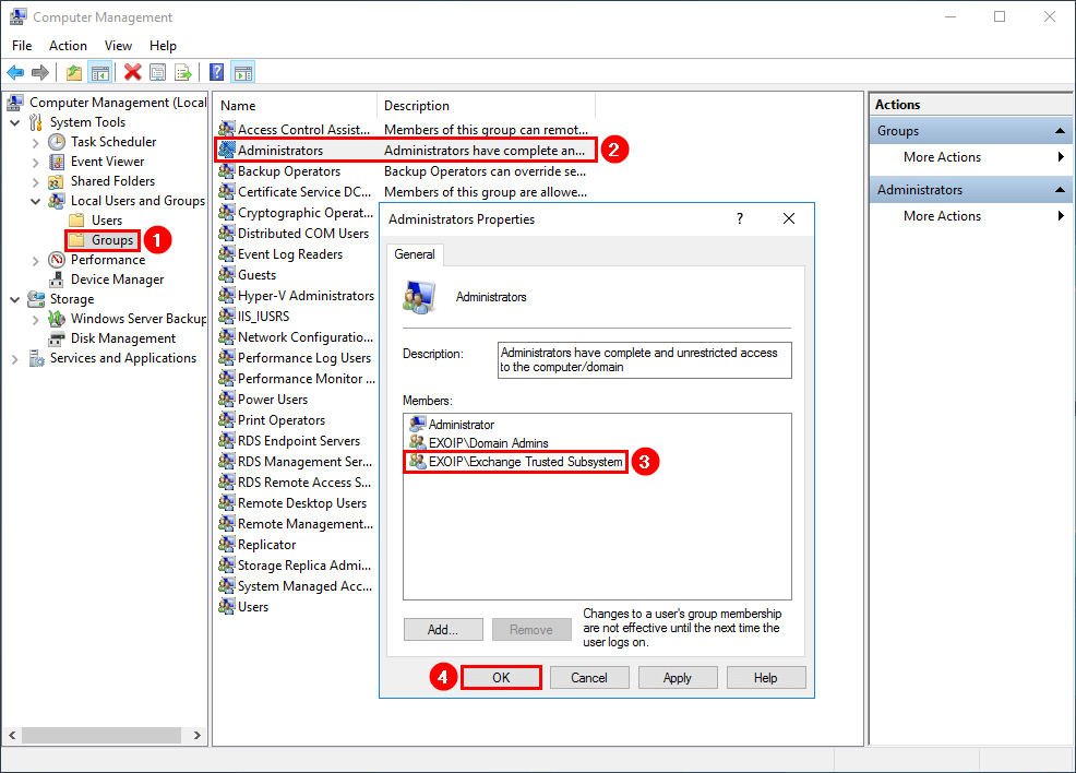 Add Exchange Trusted Subsystem group to administrators group