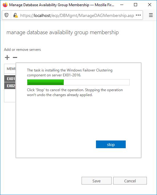 Task is installing Windows Failover Clustering on Exchange Server