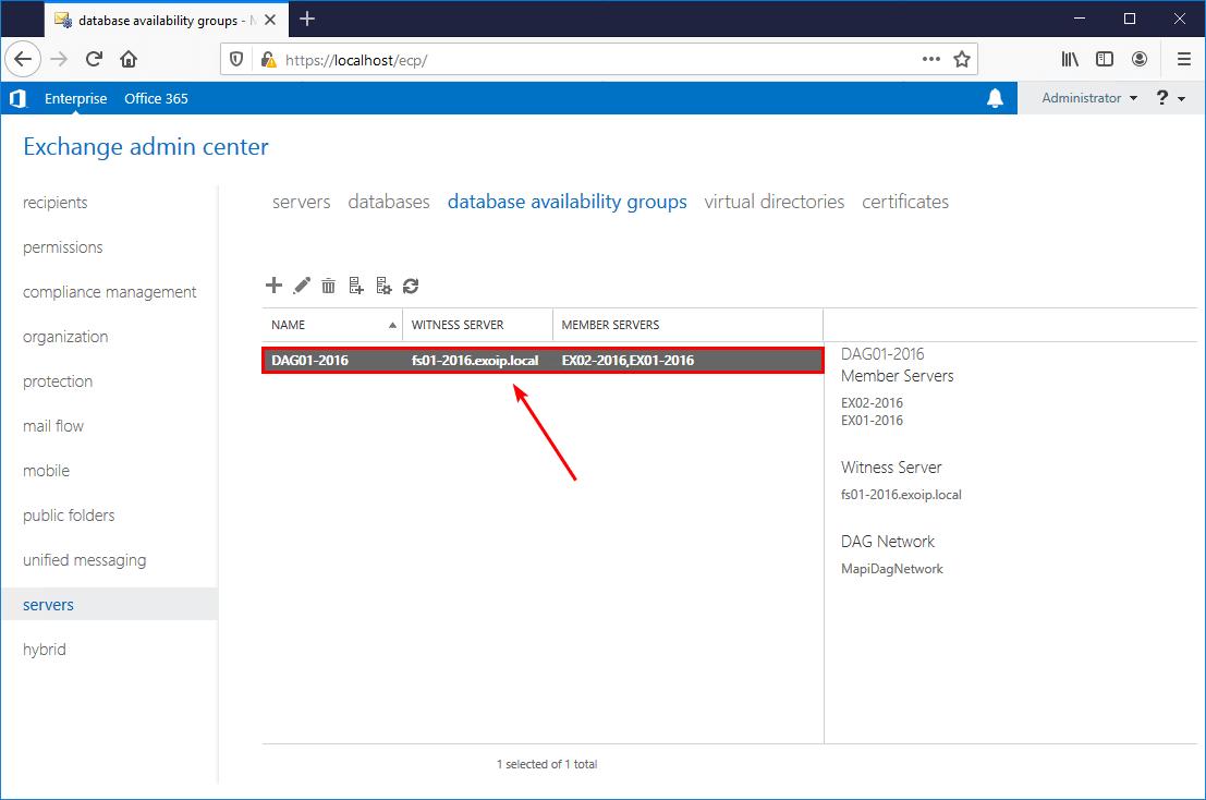 DAG member servers added