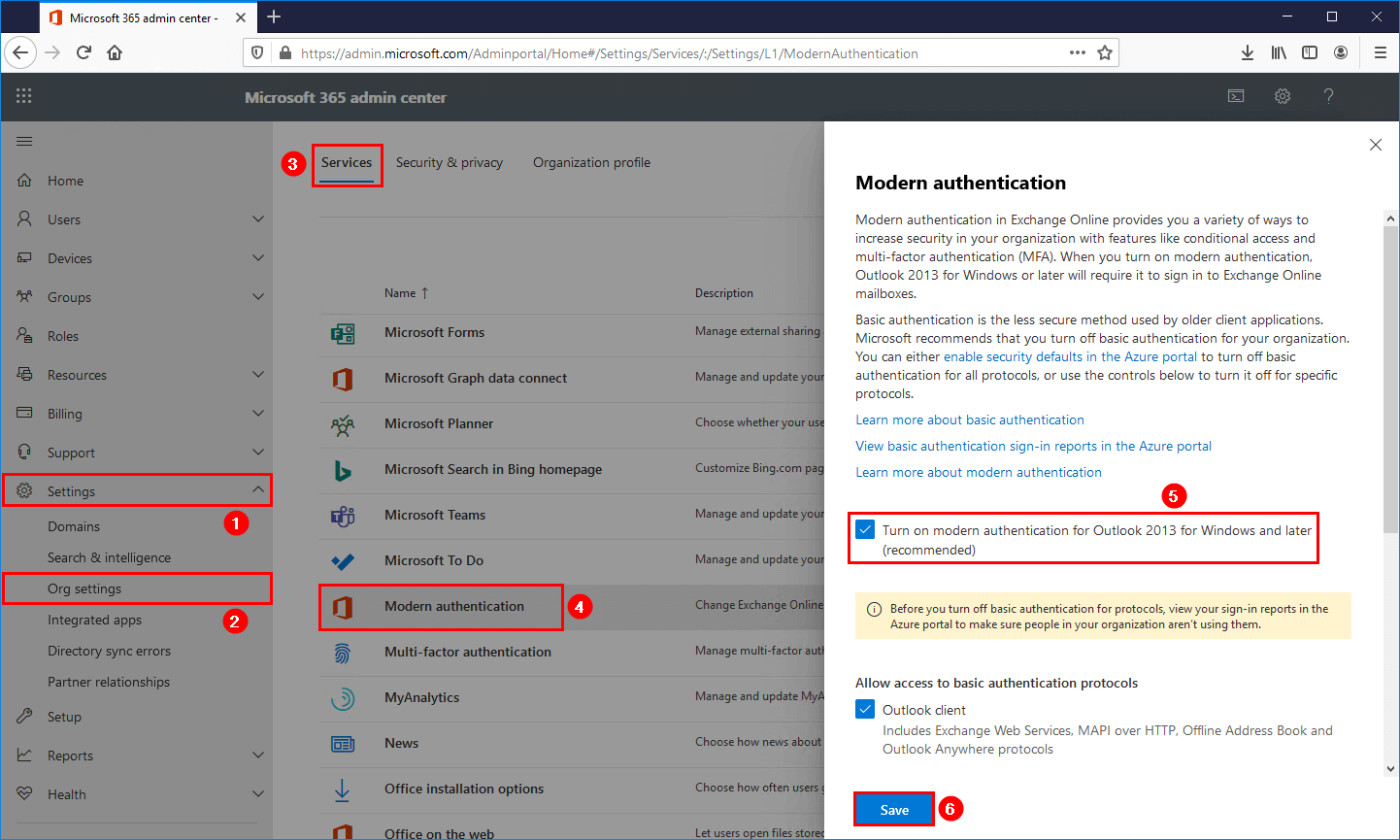 Enable modern authentication in Office 365 admin center