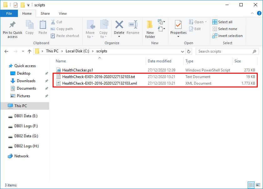 Exchange Server health check files