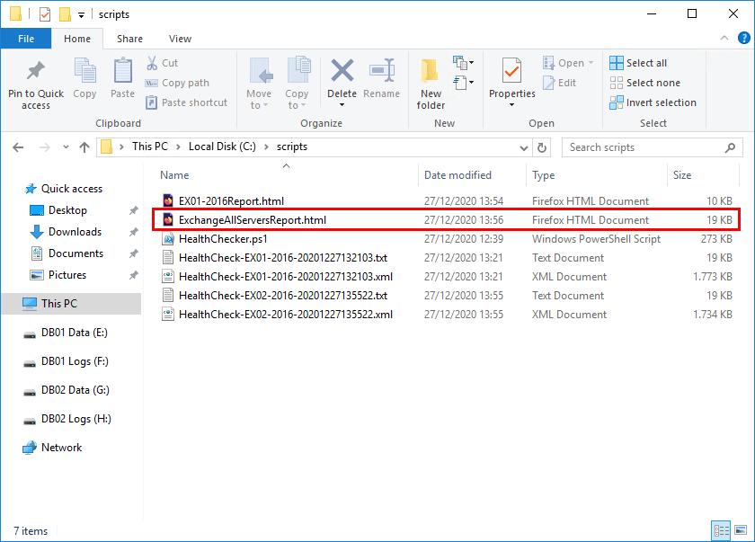 Exchange Server all servers health report