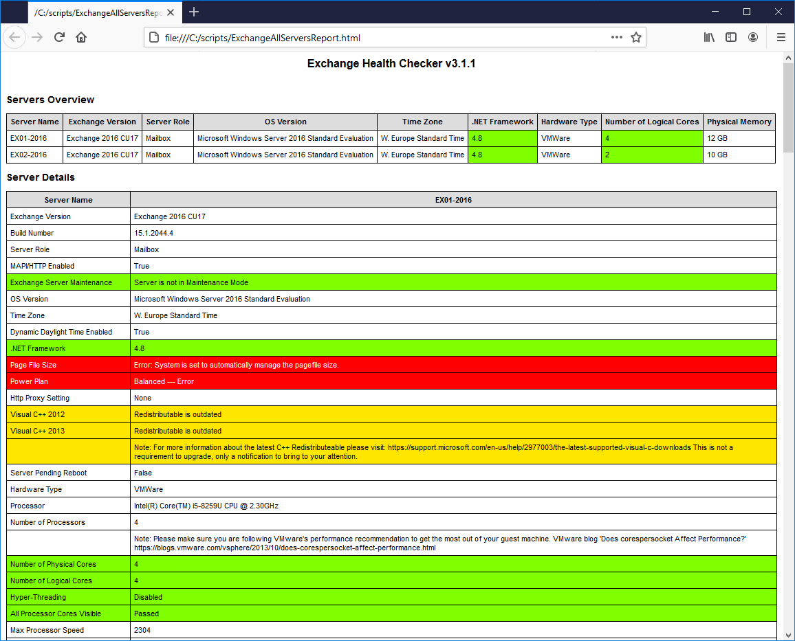 Exchange health check report
