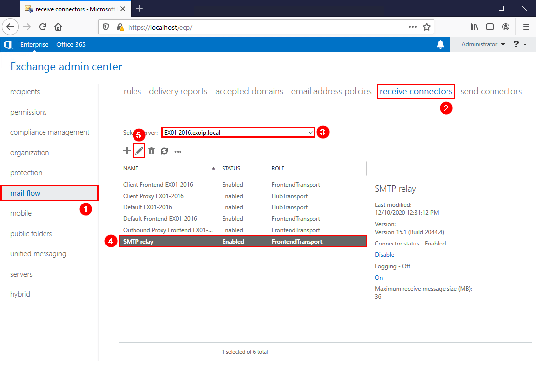Export remote IP addresses from Exchange receive connector list view