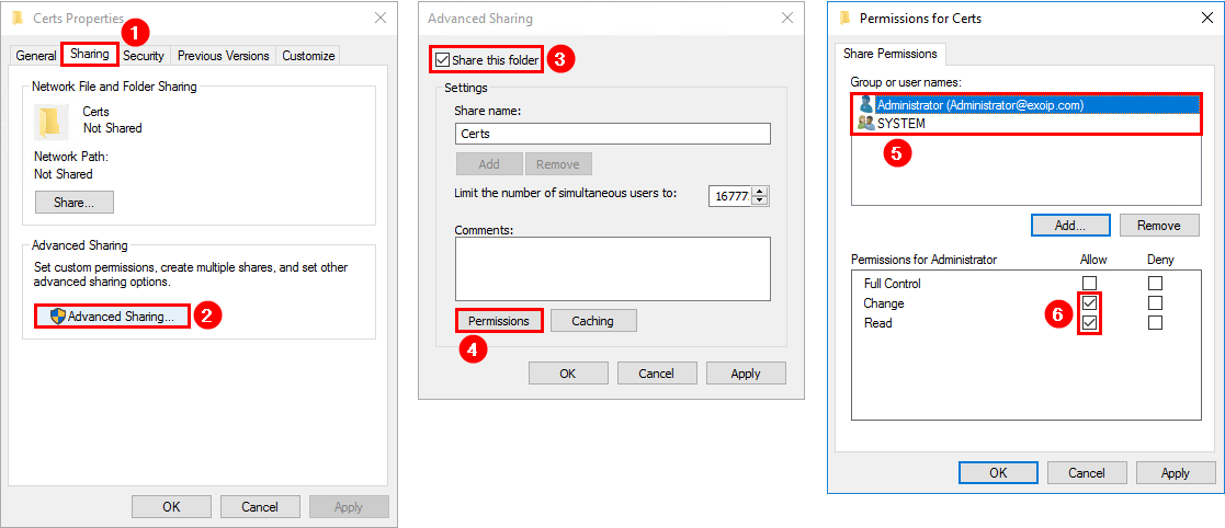 How to export certificate in Exchange 2016 create shared folder