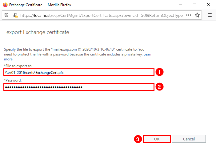 How to export certificate in Exchange 2016 file to export and password