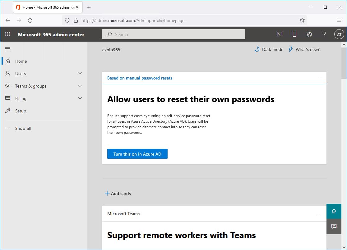 Microsoft 365 admin portal