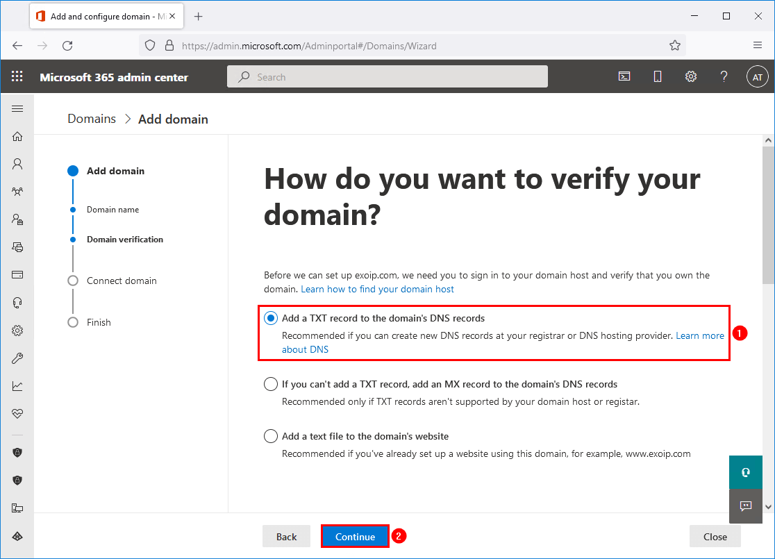 Add TXT record to the domain DNS record