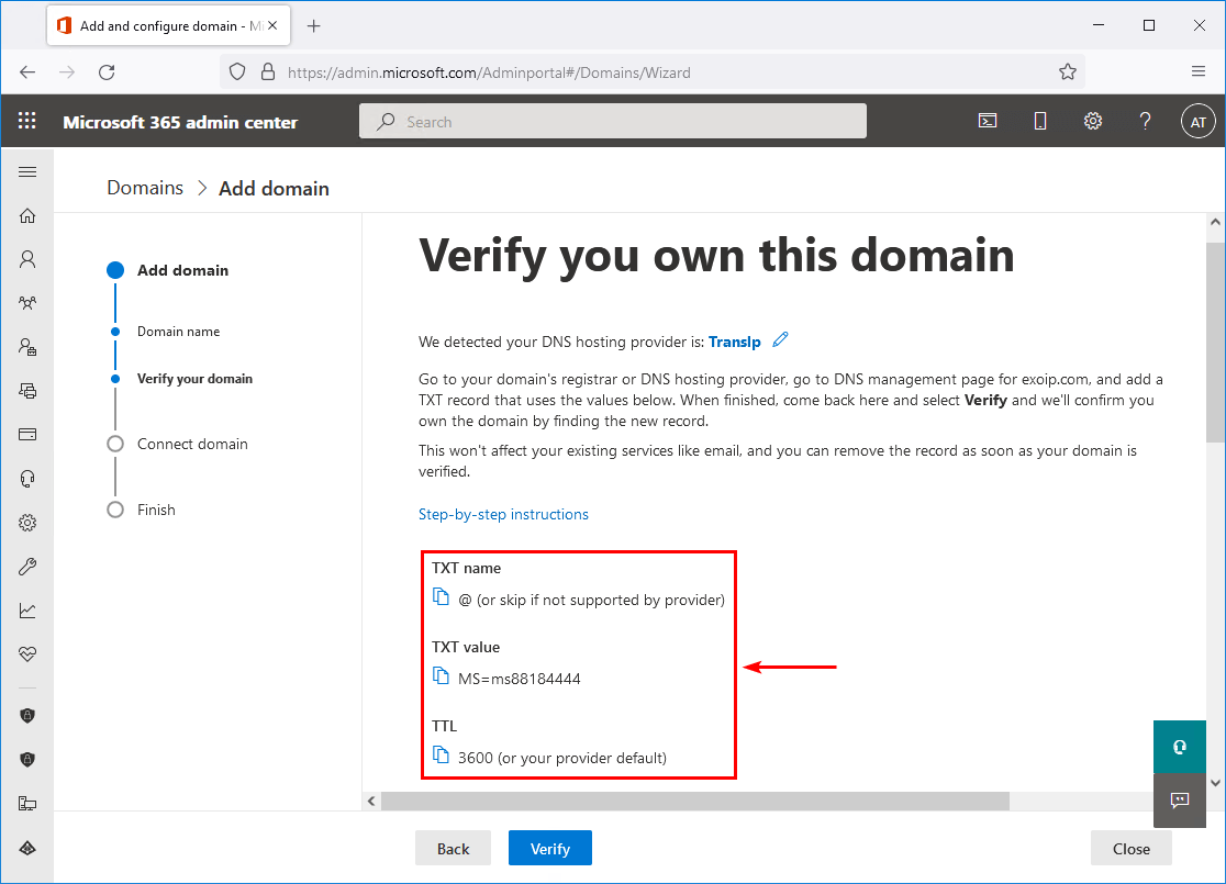 Verify you own this domain