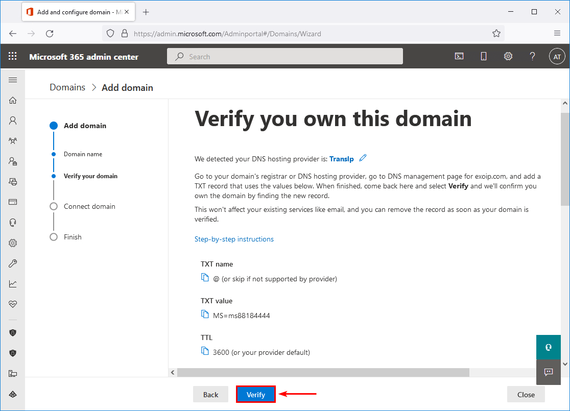 Verify you own this domain Office 365
