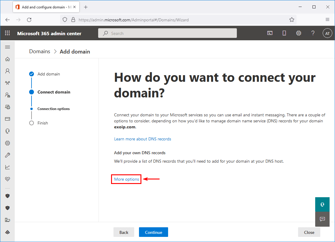 Add Office 365 DNS records more options