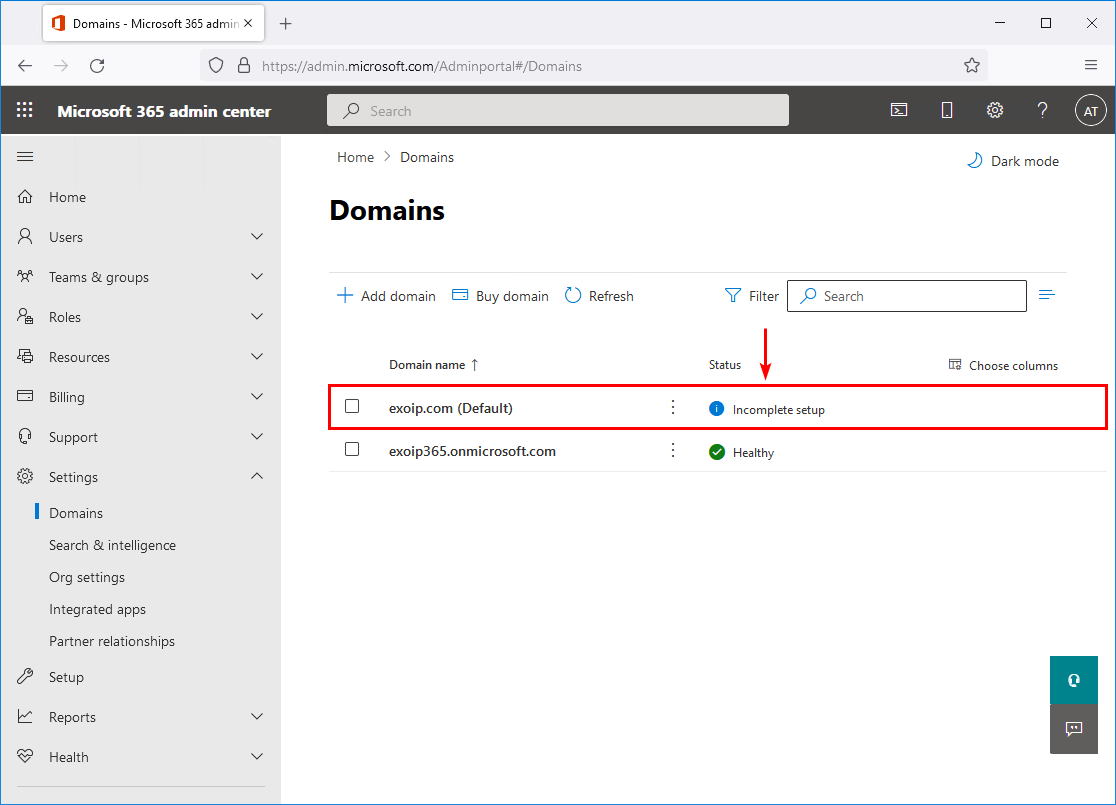 Domain incomplete setup in Office 365