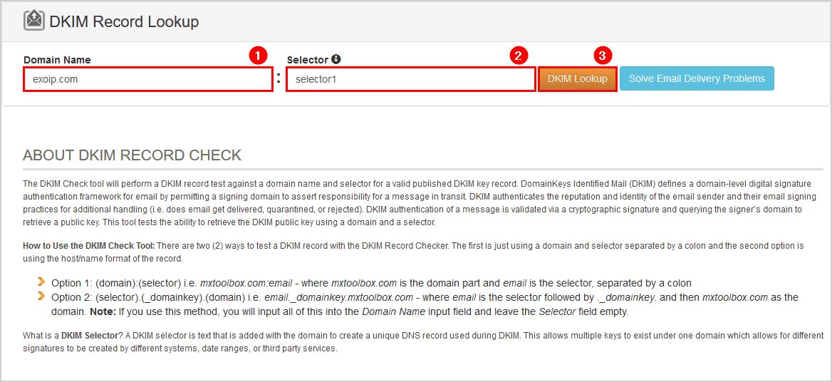 DKIM record lookup MxToolbox selector1