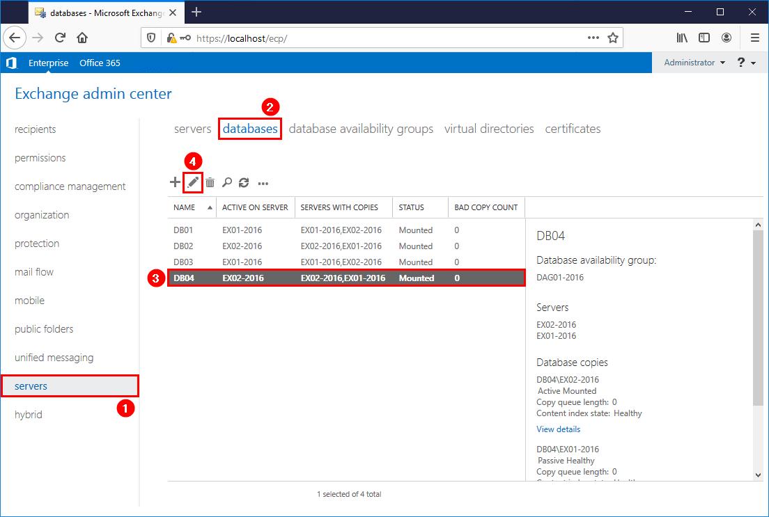 Configure mailbox database storage quotas edit