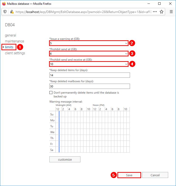 Configure mailbox database storage quotas limits