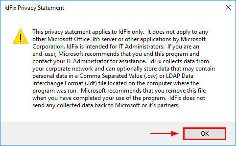 IdFix - Directory synchronization error remediation tool privacy statement