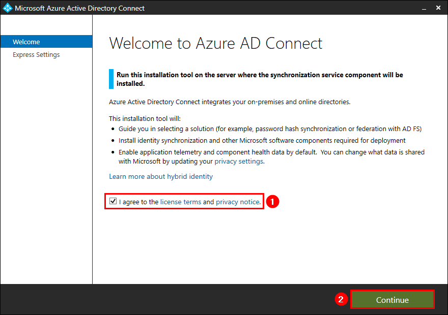 Azure AD Connect Welcome