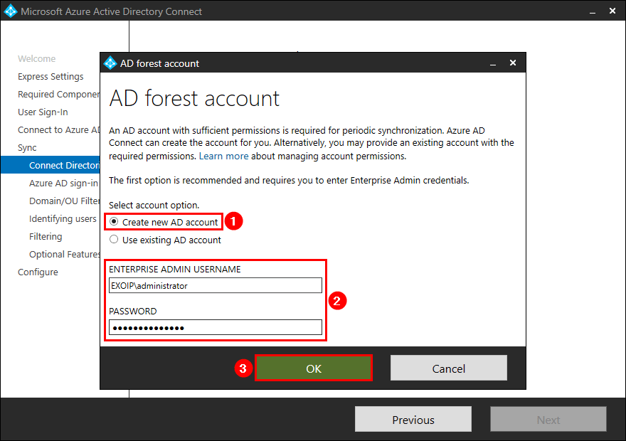 Azure AD Connect AD forest account