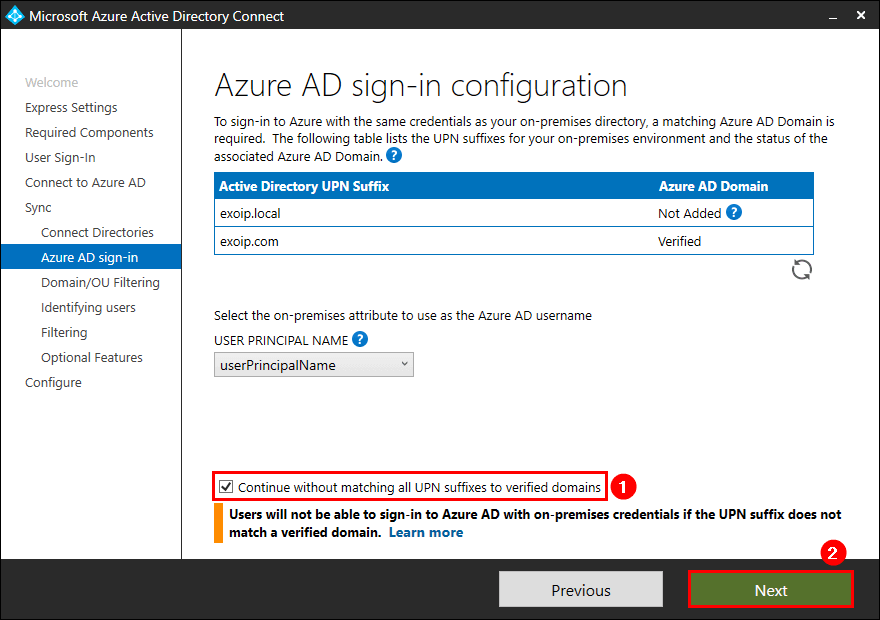 Azure AD Connect Azure AD sign-in