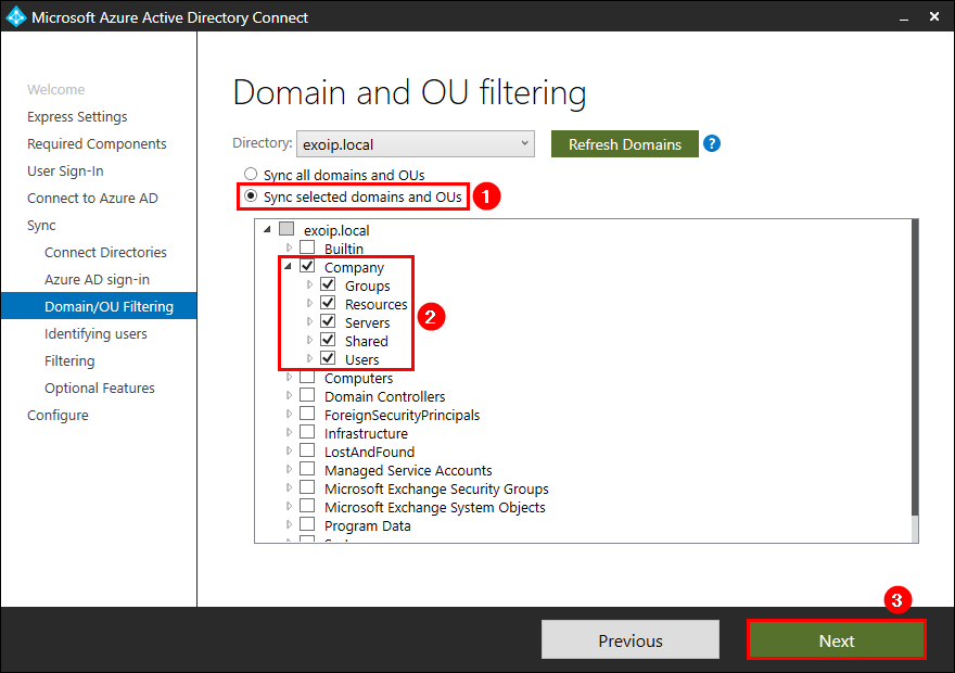Azure AD Connect Domain/OU Filtering