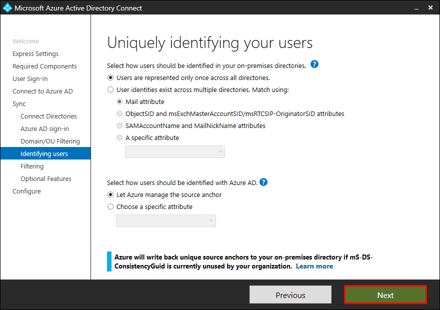 Azure AD Connect Identifying users