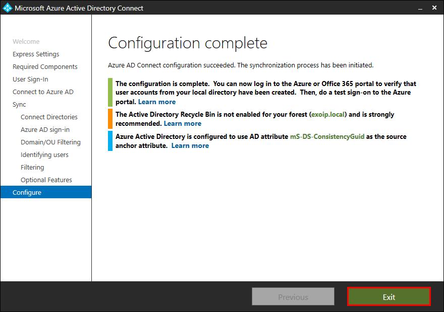 Azure AD Connect Configuration Complete