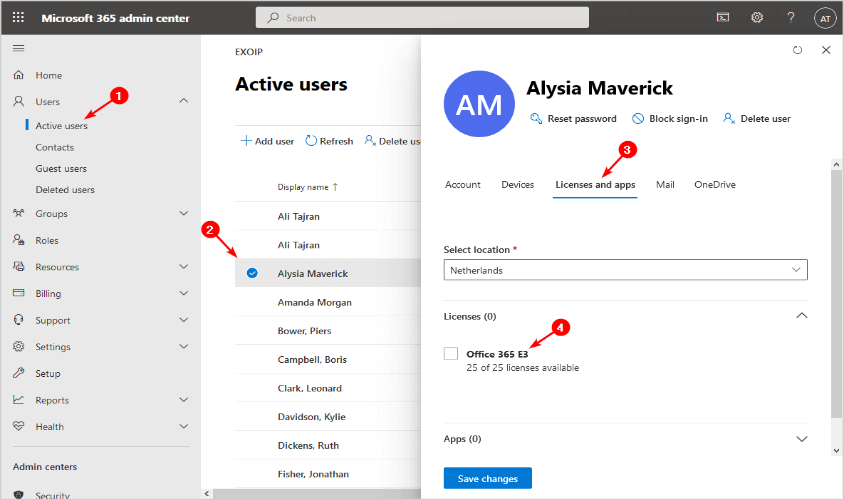 Add office 365 license to user in Microsoft 365 admin center.