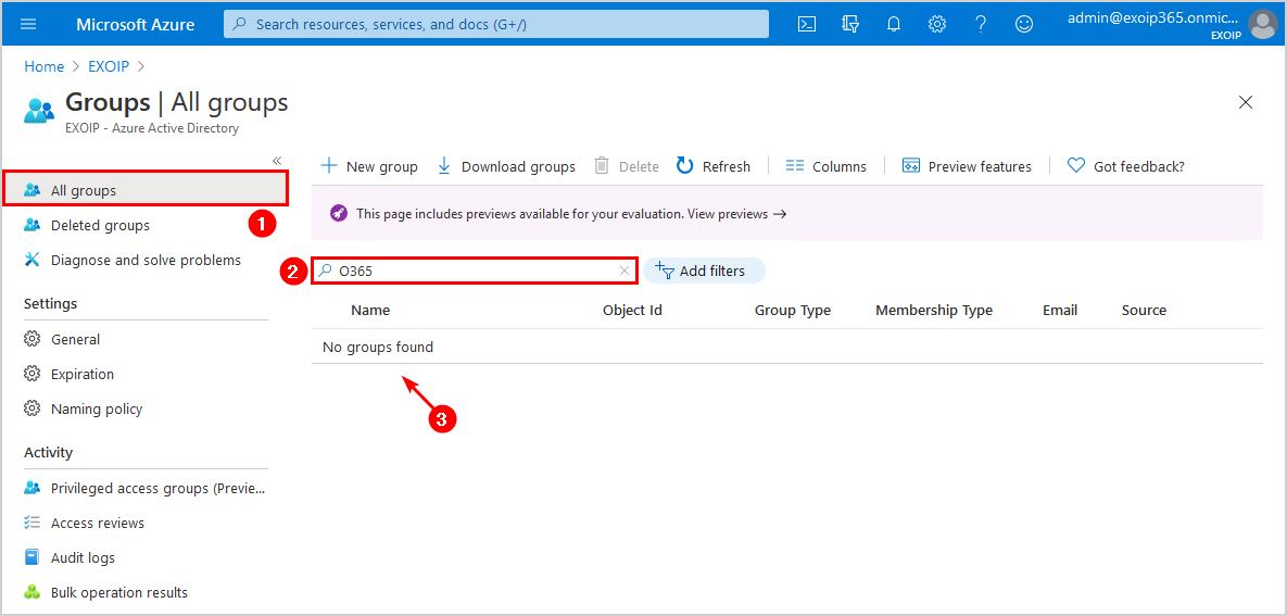 No groups found in Azure Active Directory