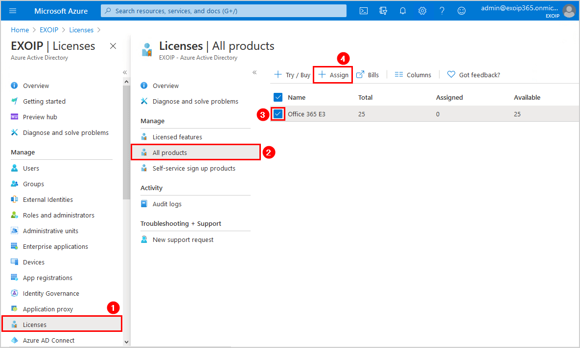Office 365 E3 assign license