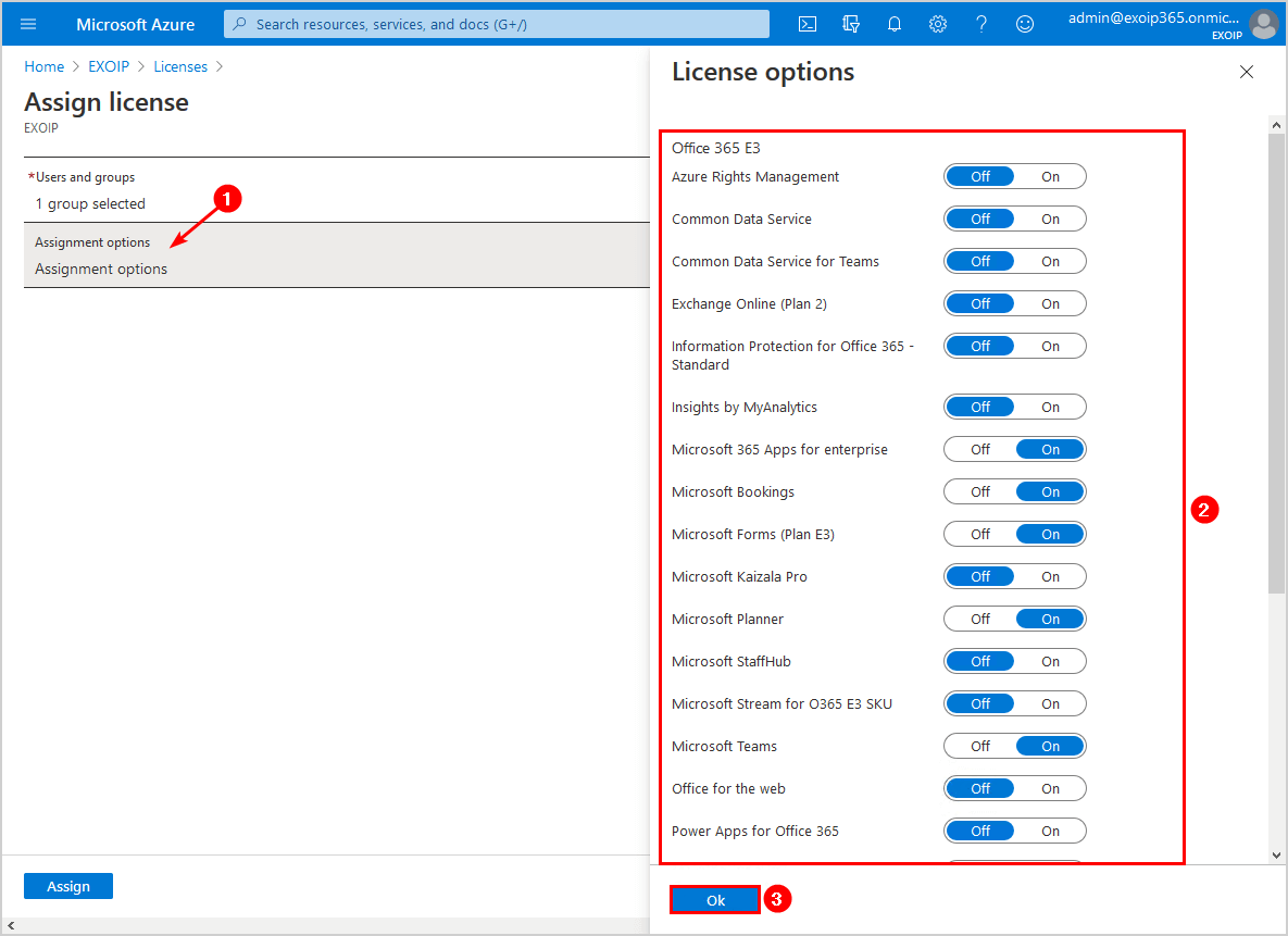 Select assignment options