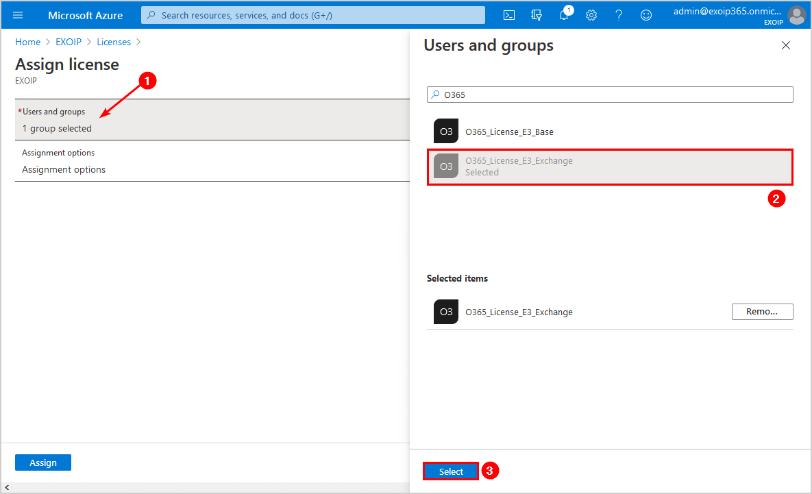 Select users and groups