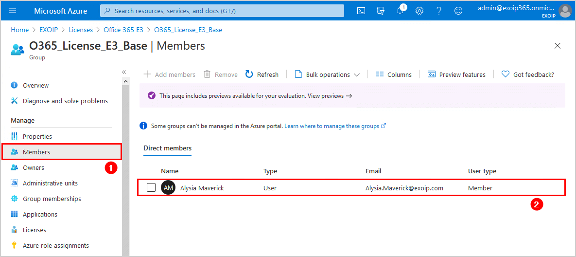 Verify members in Office 365 security group