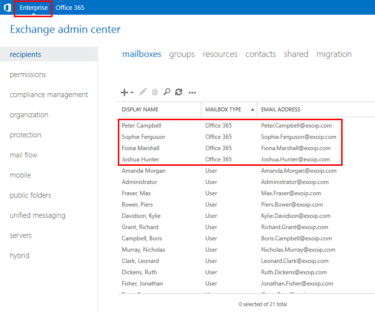 Bulk create Office 365 mailboxes in Exchange hybrid configuration on premises EAC