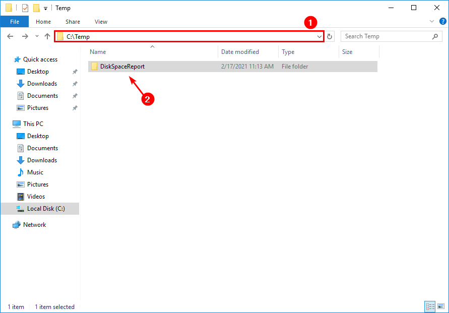Check free disk space on Windows with PowerShell script temp folder