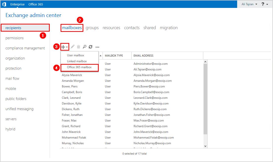 Create Office 365 mailbox in Exchange admin center