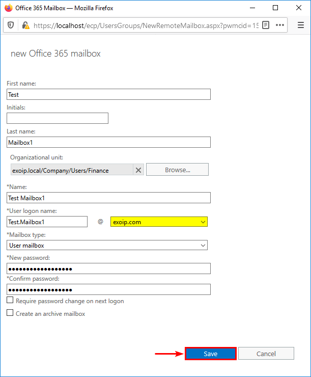 Fill in new Office 365 mailbox information