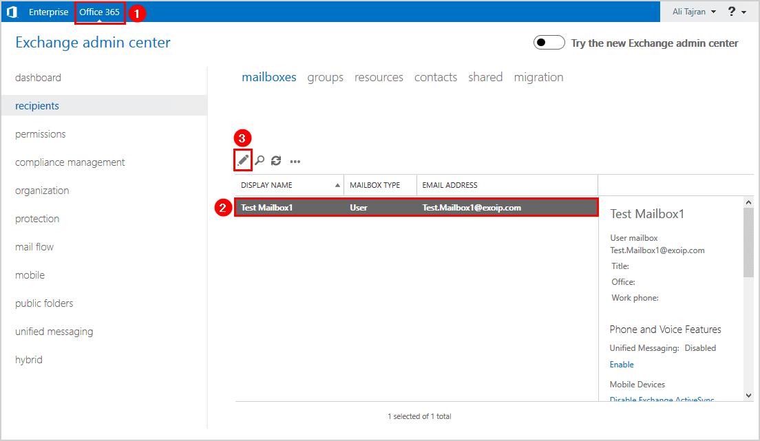 Exchange admin center edit mailbox
