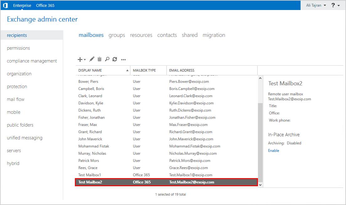 Verify mailbox in Exchange on-premises admin center