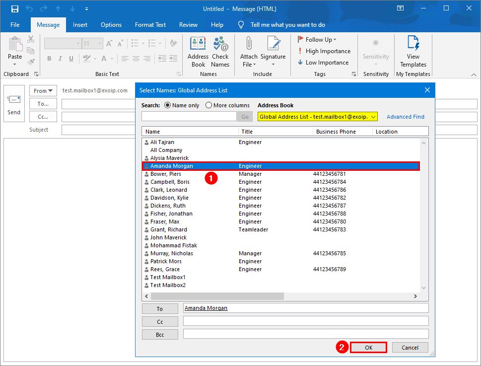 Select on-premises user from Global Address List