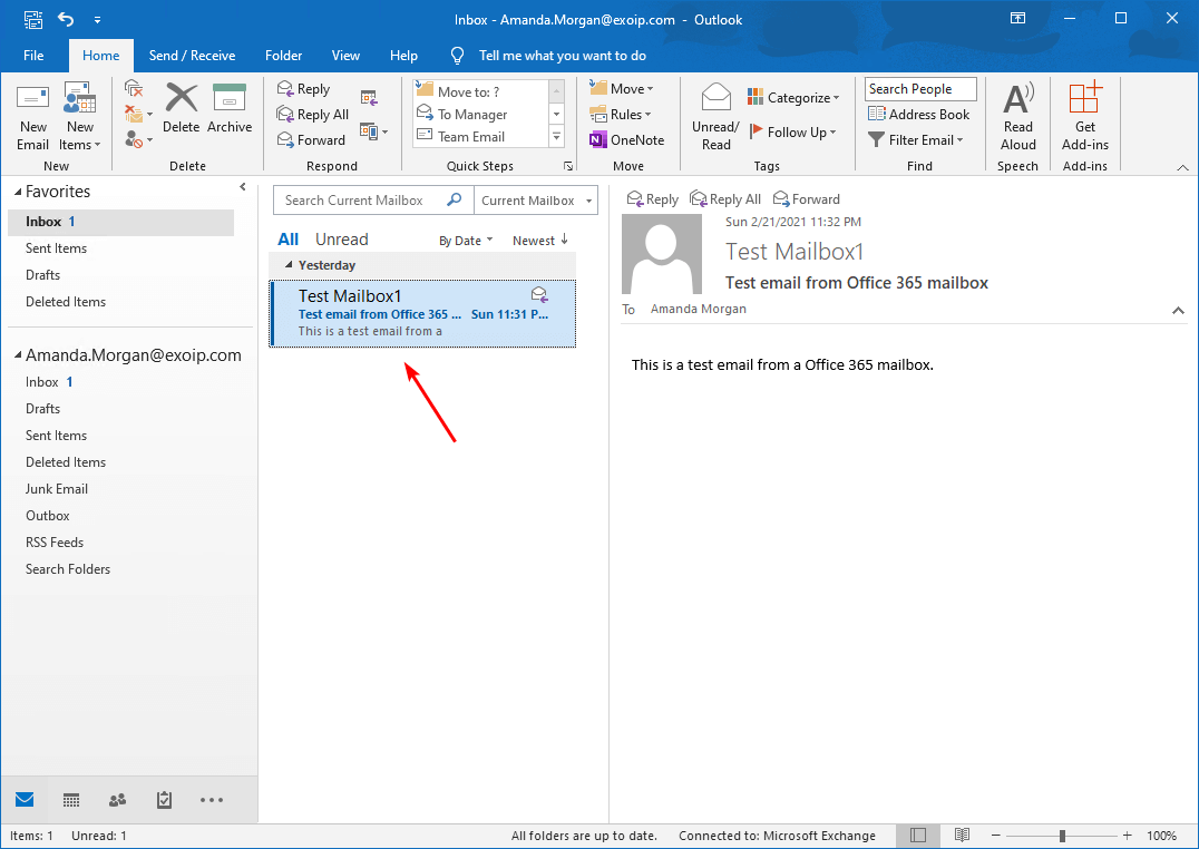 Confirm email from Office 365 mailbox to Exchange on-premises