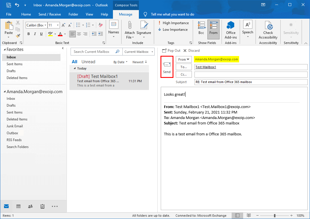 Send email from Exchange on-premises mailbox to Office 365