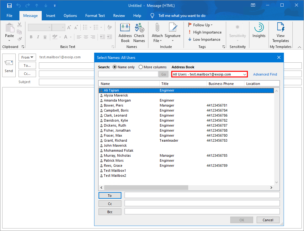 Office 365 GAL visibility