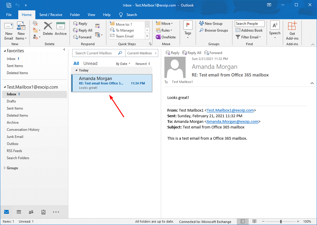 Confirm email from Exchange on-premises mailbox to Office 365