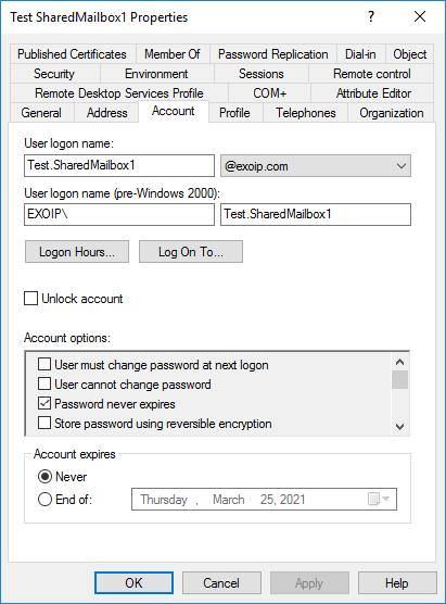 AD user account shared mailbox account tab