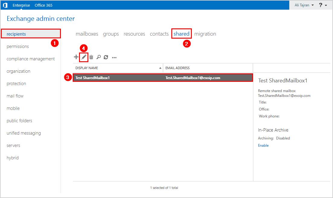 Create Office 365 shared mailbox in Exchange hybrid exchange admin center