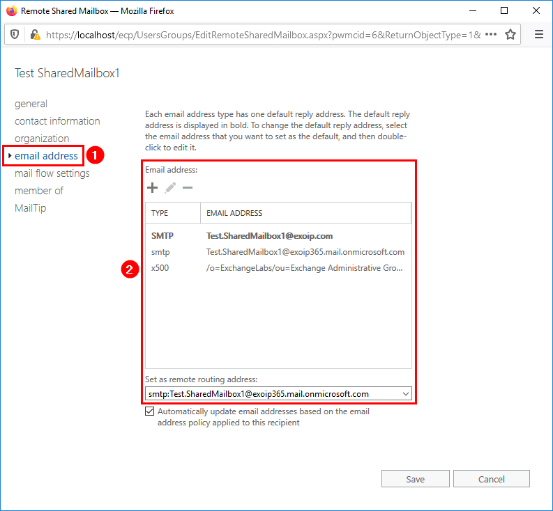 Create Office 365 shared mailbox in Exchange hybrid email address