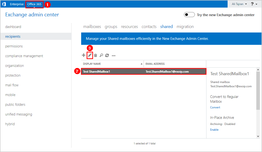 Create Office 365 shared mailbox in Exchange hybrid Office 365 exchange admin center